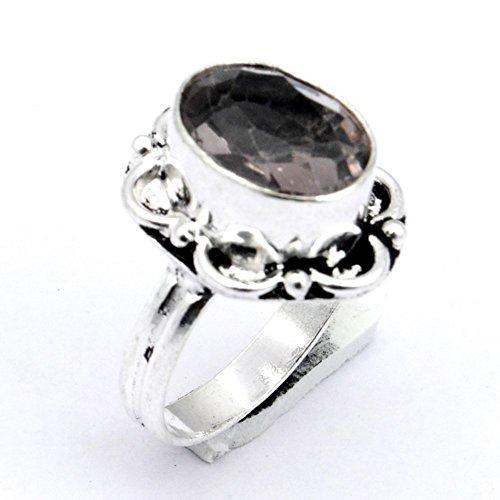Designer! Handmade Jewelry! Smokey Topaz Quartz Sterling Silver Overlay Ring Size 10 US ()