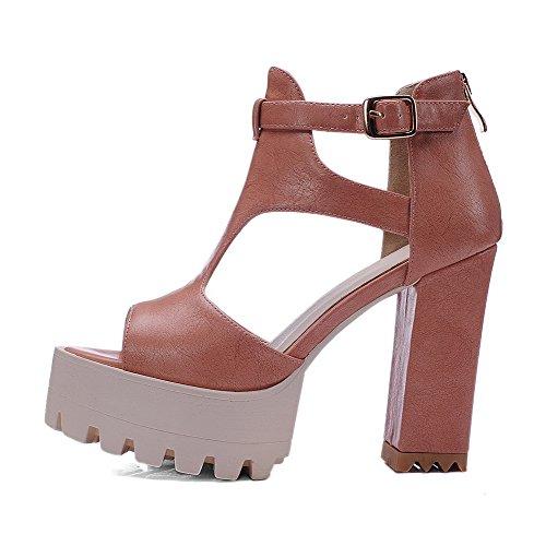 Material High Brown Heels Open Solid Sandals Buckle Women's Soft Platform Toe AgooLar fPqtO0