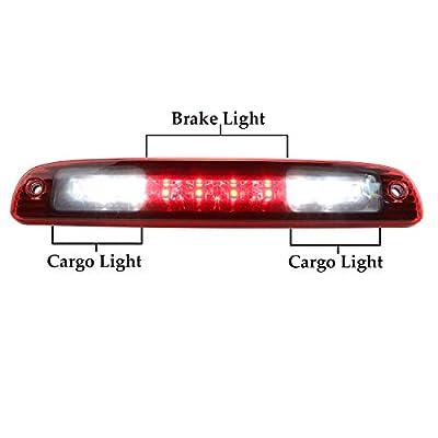 High Mount Red LED 3rd Tail Brake/Cargo Light For 1997-2007 Dodge Dakota (Chrome Housing Red Lens): Automotive