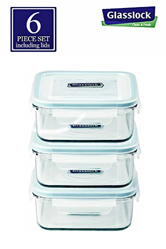 - Glasslock Food-Storage Container with Locking Lids, Oven and Microvave Safe, Square, 17oz, 6 piece set Including Lids