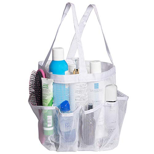Attmu Portable Mesh Shower Caddy with 8 Storage Pockets, Quick Dry Waterproof Shower Tote Bag Oxford Hanging Toiletry and Bath Organizer for Shampoo, (White)