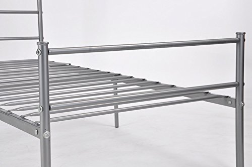 Metal Bed Frame Twin Size, GreenForest Two Headboards 6 Legs Mattress Foundation Silver Platform Bed Frame Box Spring Replacement for Boys Kids Adult Bedroom, Silver
