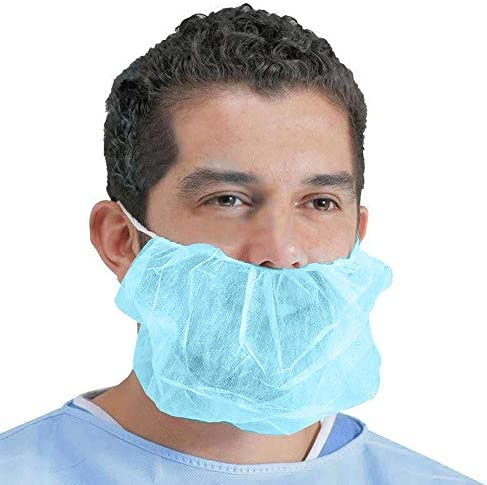 100 Pack of Disposable Beard Covers 18″. Blu