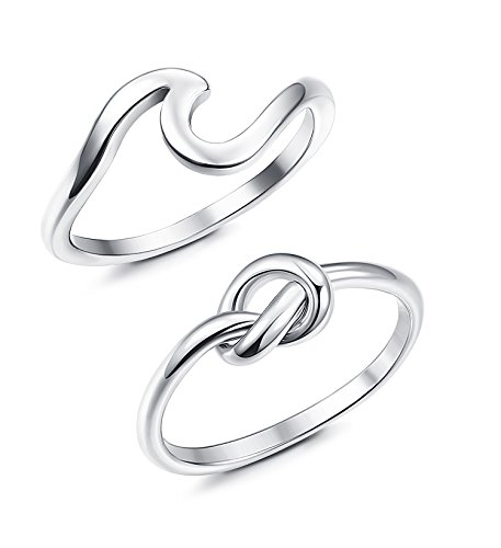 JOERICA 2PCS Stainless Steel Love Knot Womens Rings for Girls Wave Rings Size 6 (Rings)