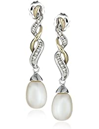 Sterling Silver and 14k Yellow Gold Diamond Accent Freshwater Cultured Pearl Earrings (9.5-10mm)