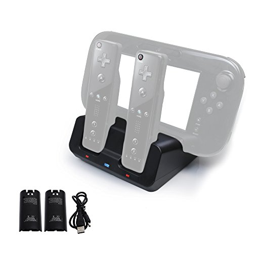 Fastsnail 3 in 1 Charging Dock for WII U Remote Gamepad and Controller, Portable Blu-ray Charging Station Base with 2 Rechargeable Batteries BLACK(Wii Controllers Not Included) (Wii U Controller Gamepad Cover compare prices)