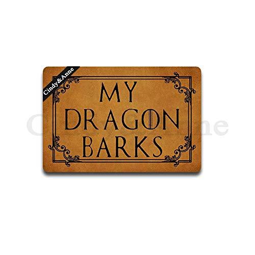 Cindy&Anne My Dragon Barks Doormat Game of Thrones Design Dragon Doormat Entrance Floor Mat Funny Doormat Door Mat Decorative Indoor Outdoor Doormat 30 by 18 Inch