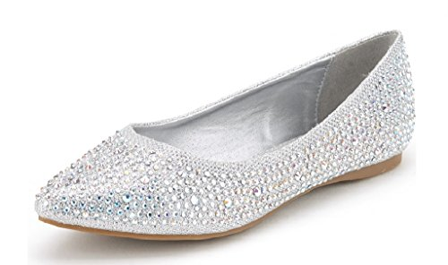 DREAM PAIRS Sole Fancy Women's Casual Pointed Toe Ballet Comfort Soft Slip On Flats Shoes Silver Size 5.5