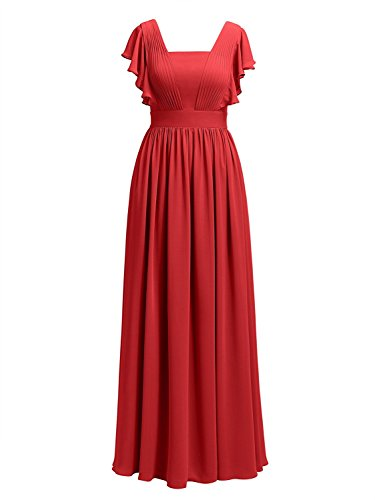 Mère Mousseline Cdress Des Robes De Mariée Longues Robes De Soirée Bal Du Soir De Mariage Rouge