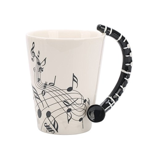 12 Oz Clarinet Music Unique Art Musical Notes Holds Tea Coffee Milk Ceramic Mug Cup Best Gift Box,Black