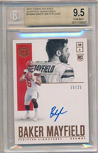 BIGBOYD SPORTS CARDS Baker Mayfield 2018 PANINI ENCASED Rookie Autograph SP AUTO #/25 BGS 9.5 GEM 10