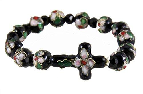 Filigree Cloisonne (4030447 Christian Cloisonne Cross Leaf Enamel Filigree Stretch Bracelet)