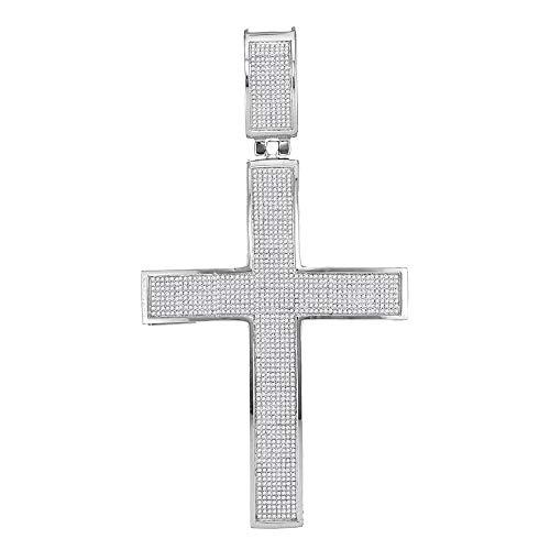 The Diamond Deal 10kt White Gold Mens Round Diamond Roman Cross Charm Pendant 1-7/8 Cttw