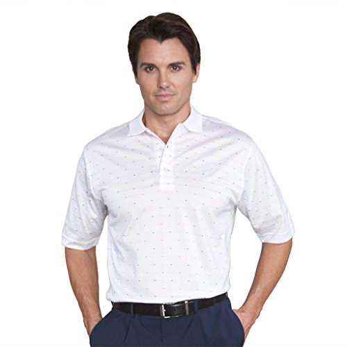 Monterey Club Mens Pima Cotton Jacquard Shirt #1273 (White/Red, Large) (Double Mercerized Pique Mens Shirt)