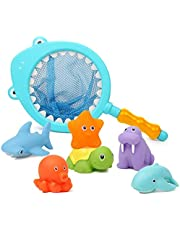 Mumoo Bear 7Pcs Baby Bath Toys, Scoop Net Fish Pool Toys with Spray, Sounds, Color Changing Toddler Bathtub Toys