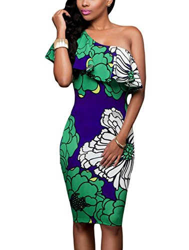 Hawain Outfit (Suimiki Women's Sexy One Off Shoulder Floral Printed Ruffle Bodycon Midi Dress Green Small)