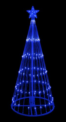 Get your christmas lights from amazon ho ho the mistletoe 6 blue led light show cone christmas tree lighted yard art decoration mozeypictures Images