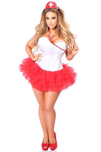 Daisy Corsets Women's Lavish Plus Size Flirty Nurse Corset Costume, Red, 4X -