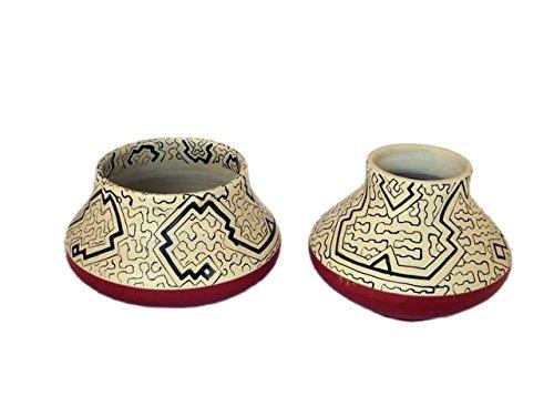 Vaso Ceramica Shipibo Misure H 14x18 cm Venduti in ASORTIMENTO Casuale Discount Etnico