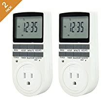 Comforday™ 7-Day Programmable Digital Timer, Use Indoor and Outdoor with Dual Outlets (1 Pack) (2 Pack)