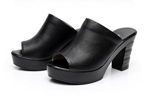 Confort Novedad Zapatos de Zuecos DANDANJIE y Tac Cuero Mujer Mulas de 1X76qT