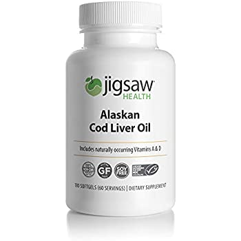 Jigsaw Health Alaskan Cod Liver Oil - with Omega-3 Fatty acids, Vitamin A and Vitamin D - 180 softgels per Bottle