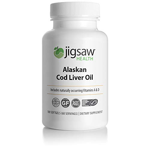 Jigsaw Health Alaskan Cold Liver Oil - with Omega-3 Fatty acids, Vitamin A and Vitamin D - 180 softgels per Bottle