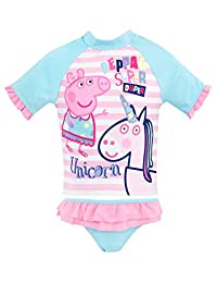 Peppa Pig Girls' Peppa & Unicorn Two Piece Swim Set Pink