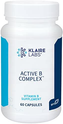 Klaire Labs Active B Complex - High Potency B Vitamins with Metafolin Folate, B12 as Methylcobalamin & B6 Benfotiamine (60 Capsules)