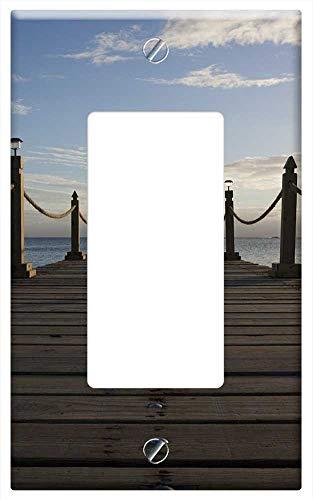 Switch Plate Single Rocker/GFCI - Jetty Pier Wooden Planks Harbor Ocean Sea