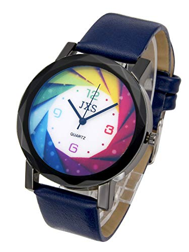 Top Plaza Womens Mens Fashion Blue Leather Analog Quartz Wrist Watch Colorful Dial Arabic Numerals Casual Dress Watches