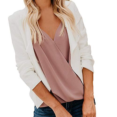 Clearance Sale Women Fall Work Office Coat Long Sleeve Blazer Open Front Short Cardigan Suit Jacket (S, White) -