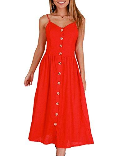 ZESICA Women's Summer Spaghetti Strap Solid Color Button Down Swing Midi Dress,Medium,Red ()