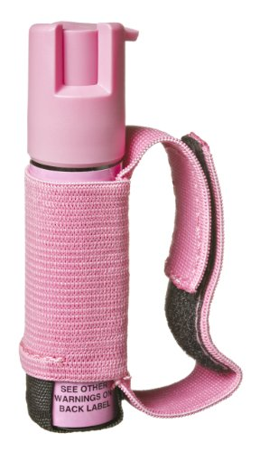 SABRE RED Police Strength Pepper Spray – Runner Model with Pink Hand Strap and 35 shots, 5Xs more than competition for max protection!, Outdoor Stuffs