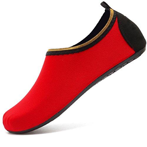 VIFUUR Water Sports Shoes Barefoot Quick-Dry Aqua Yoga Socks Slip-on for Men Women Kids SoidRed-38/39