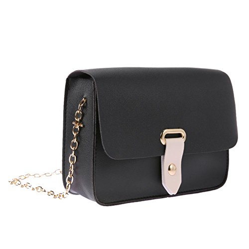 Women Bags Black Simple Casual Shoulder PU Flap Bag Leather Girls Chain Crossbody Domybest qwTnpPAtq
