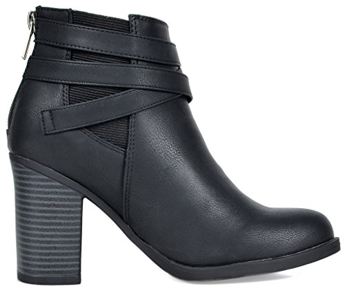 TOETOS Women's Chicago-03 Black Faux Leather Pu Chunky Heel Ankle Boots Size 8.5 M US by TOETOS (Image #2)