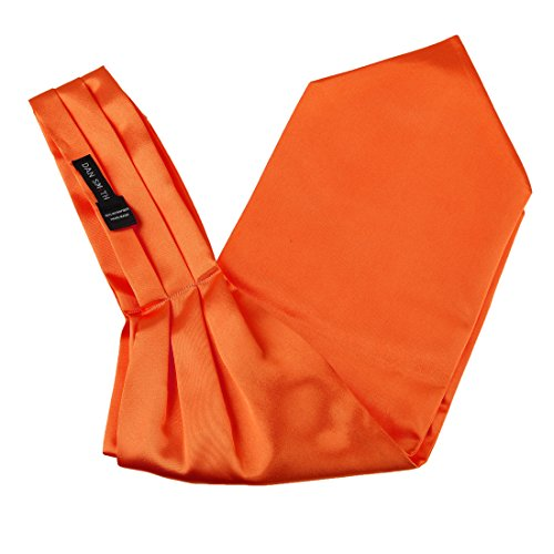 Dan Smith DRA7E01N Orange Solid Mens Microfiber Ascot Business- casual Groomsmen Cravat Happy Gift