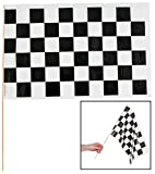 """Black & White Checkered Racing Flags (12 Pack) 16"""" X 11"""" X 21"""" - Party Decorations & Flags & Bunting"""