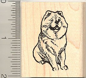 sitting-chow-chow-dog-rubber-stamp-wood-mounted