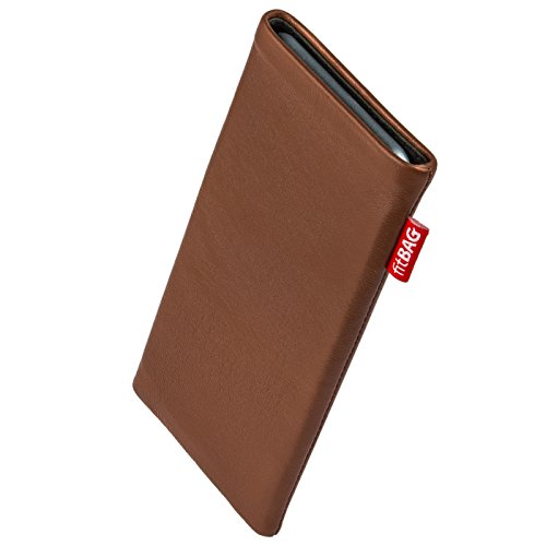 fitBAG Beat Brown Custom Tailored Sleeve for Apple iPhone X/Xs | Made in Germany | Fine Nappa Leather Pouch case Cover with Microfibre Lining for Display Cleaning