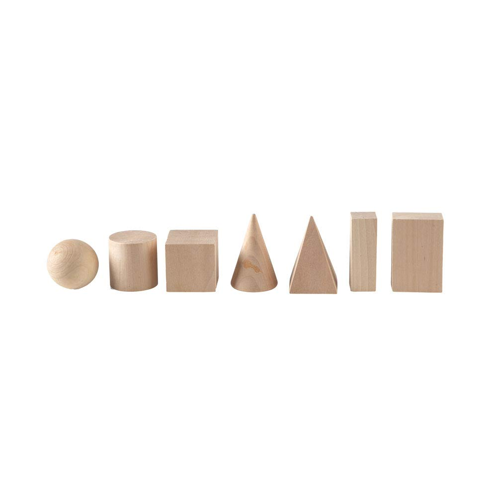 hand2mind Wood Geometric Solid Blocks ETA hand2mind 41-7HB Set of 7 3D Shapes
