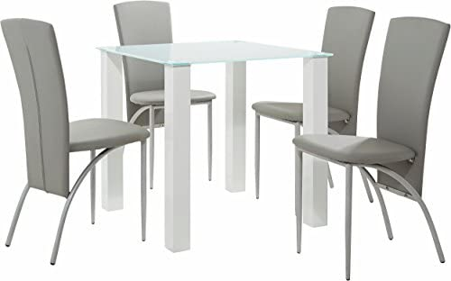 Loft Small Dining Table For 2-4 People Square Kitchen Dining Room Furniture Modern Design - MDF Glass Table Top White High Gloss (80x80 cm)