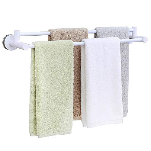 HOOMTAOOK Double Towel Bar Rack Super Power Vacuum Suction No Drill Waterproof Heavy Duty Removable Reusable Bathroom Shower Organization Bath Towel Hanger Holder For Kitchen by Wenzhou Wusuobuyou Household Goods Co.,Ltd