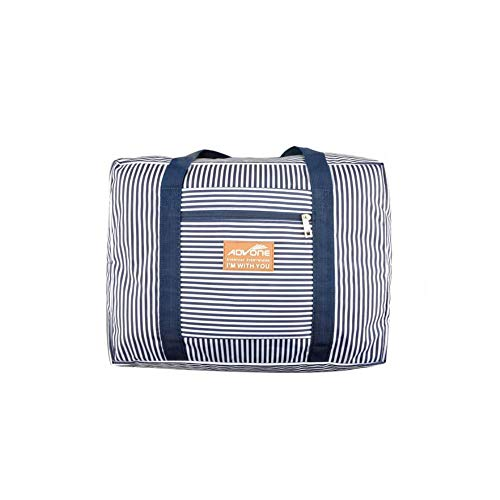 - Foldable Travel Bag Travel Bag Overnight Carry-on Tote Duffel in Trolley Handle for women men (BLUE STRIPE)