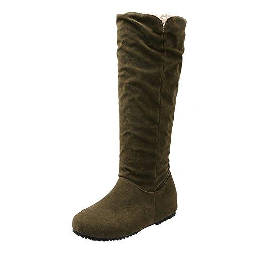 Eclimb Womens Mid calf High Flat Slouchly Shaft Low Heel Boots Green neuN06WL