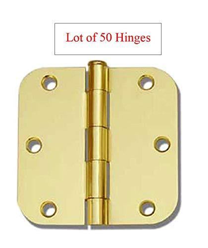 (50 Pack Polished Brass 3.5' x 3.5' 5/8 Radius Round Corner Interior Door Hinges)