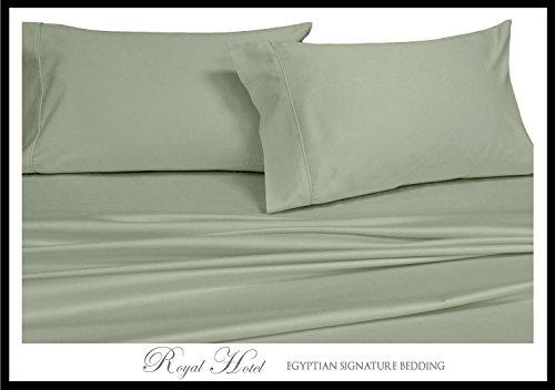 Royal's Solid Sage 1000 Thread Count 5pc Split-King: Adjustable King Size Bed Sheet Set 100% Cotton, Sateen Solid, Deep Pocket