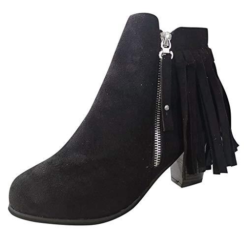 Fringe Ankle Boot Western Cowboy Bootie,Londony❄ Women's Fringe Hidden Wedge Heel Ankle Boots Tassel Bootie Black (Black And White 2 V1 2 Trainer)