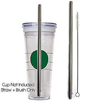Replacement Straw + Brush For Grande Cup - Stainless Steel + Cleaner GRANDE Frappuccino Blended Cold To-Go Reusable Drink Tumbler